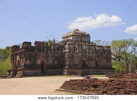 Thuparama view Polonnaruwa or Pulattipura ancient city of the Kingdom of Polonnaruwa in Sri Lanka horizontal