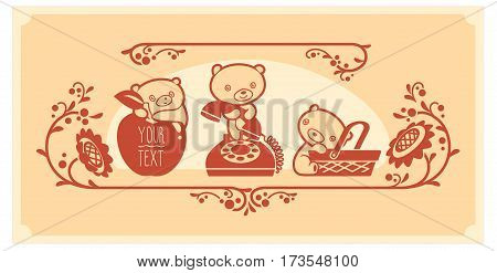 Woodland animals and decor elements set. Three teddy bears vector characters.and icons. bear cub with apple, phone, basket.