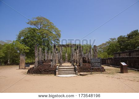 Nissanka Latha Mandapaya Polonnaruwa or Pulattipura ancient city of the Kingdom of Polonnaruwa in Sri Lanka