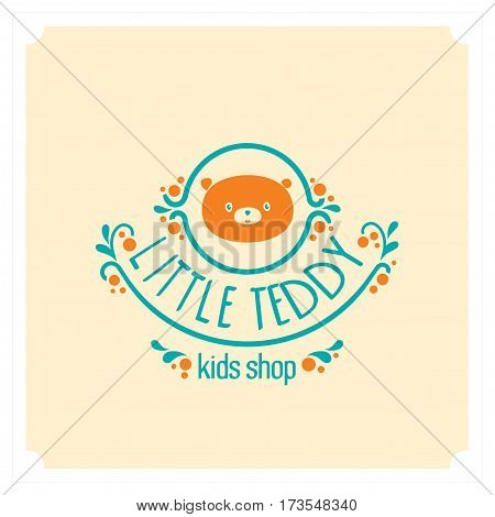 Kids shop logo with teddy bear. Baby, child company goods, toys shop, store, language school. Teddy icon, animal character. Kindergarten badge