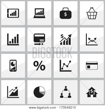 Set Of 16 Editable Analytics Icons. Includes Symbols Such As Revenue, Statistic, Trading Purse And More. Can Be Used For Web, Mobile, UI And Infographic Design.