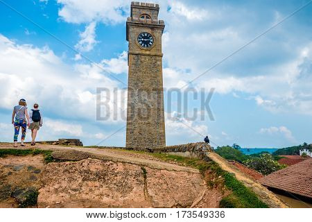 View with clock tower in fort of Galle, Sri Lanka