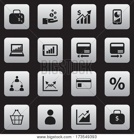 Set Of 16 Editable Statistic Icons. Includes Symbols Such As Schema, Percent, Cash Briefcase And More. Can Be Used For Web, Mobile, UI And Infographic Design.