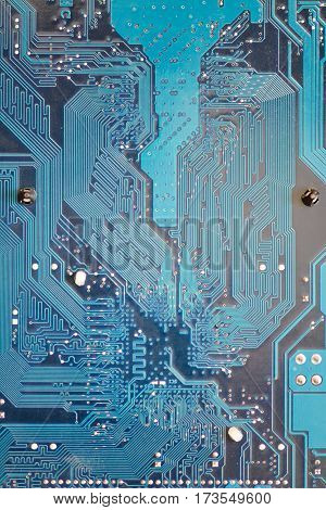 Computer motherboard or circuit board blue background