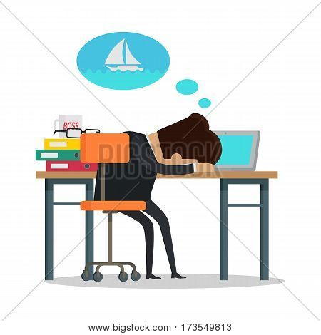 Young businessman in black business suit sleeping and dreaming about yachting. Summer vacation at sea concept. Business people in office. Vector illustration in flat design.