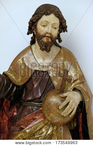 ZAGREB, CROATIA - JUNE 18: Christ the King from the altar of the parish church of St. Vitus in Vrbovec, exhibited in the Museum of Arts and Crafts in Zagreb, on June 18, 2015.