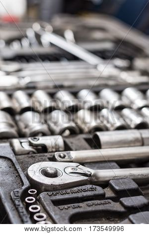 Set Of Ratchet Tools In The Garage