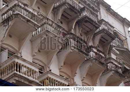 KOLKATA, INDIA - FEBRUARY 07: An aging, decaying, ex-colonial tenement block in Kolkata, India on February 07, 2016.