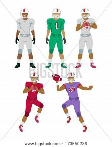Collection of icons of five american football players in helmets. Three still standing men, one holding a ball. Two jumping and throwing balls players underneath. Simple cartoon style. Vector