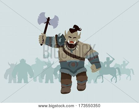 Game object of orc with axe. Orc warrior with steel axe and armors in front. Stylized fantasy characters. Game object in flat design on blue game background. Vector illustration.