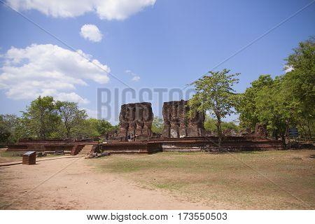 Royal Palace Polonnaruwa or Pulattipura ancient city of the Kingdom of Polonnaruwa in Sri Lanka far view horizontal