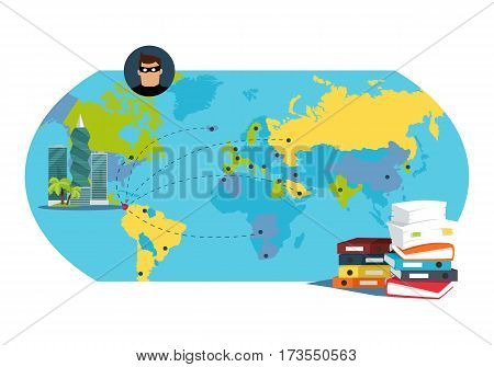 Panama documents concept Flat Vector Illustration. Stack of papers on panama-city, world map background. International financial investigation concept. Offshore documents scandal illustration.