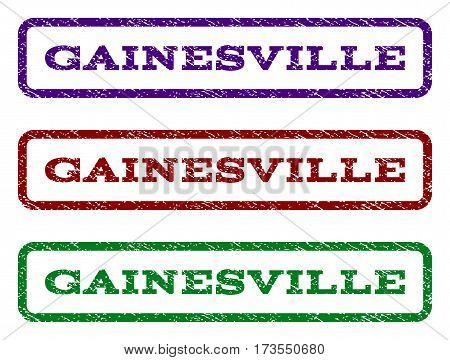 Gainesville watermark stamp. Text caption inside rounded rectangle with grunge design style. Vector variants are indigo blue red green ink colors. Rubber seal stamp with scratched texture.