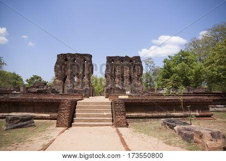 Royal Palace Polonnaruwa or Pulattipura ancient city of the Kingdom of Polonnaruwa in Sri Lanka