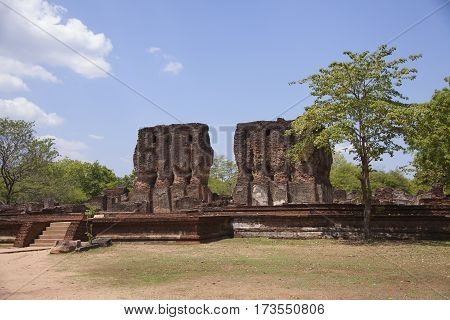 Royal Palace Polonnaruwa or Pulattipura ancient city of the Kingdom of Polonnaruwa in Sri Lanka horizontal