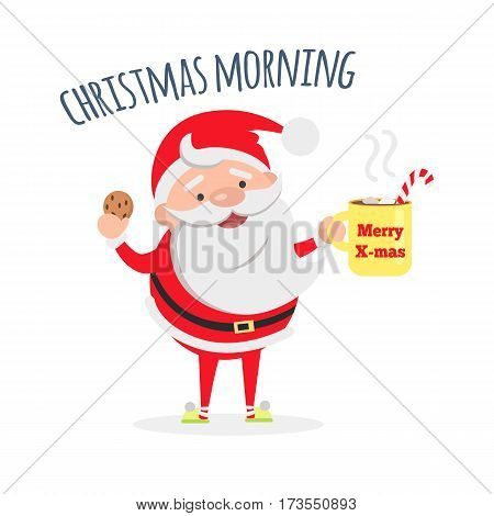 Good morning. Santa Claus with cup of coffee and tasty biscuit. Santa s breakfast. Merry Christmas and Happy New Year concept. Winter holiday illustration. Greeting card. Vector in flat style design
