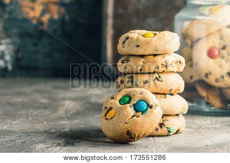 Stack of Homemade Candy Coated Chocolate Chip Cookies, ready to eat