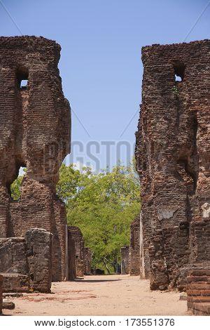 Royal Palace Polonnaruwa or Pulattipura ancient city of the Kingdom of Polonnaruwa in Sri Lanka vertical close view