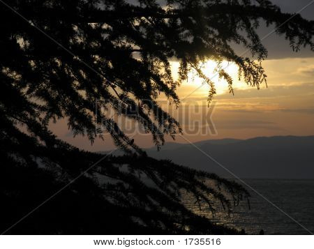 sunset on ohrid lake in macedonia. poster
