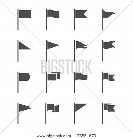 Icons of flags vector set isolated from the background. The start and finish markers or pointer to the map or location. Different, dark silhouettes waving flags.