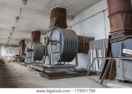 A ventilation room with an old air-handling equipment