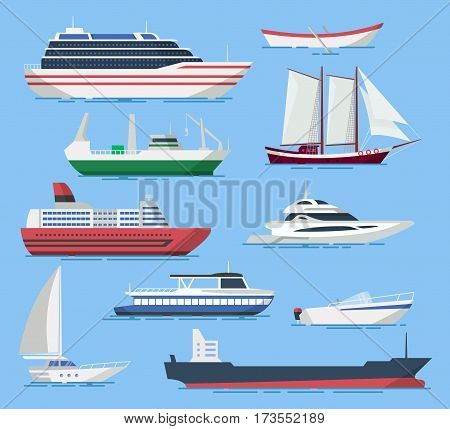 Ships and boats vector set in a flat style. Illustration of passenger and cargo ships in the sea. Icons of sea and river ships isolated from the background.