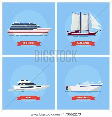 Ships and boats vector set icons in a flat style. Cruise ship, boat, sailboat, powerboat. Sea and river transport.