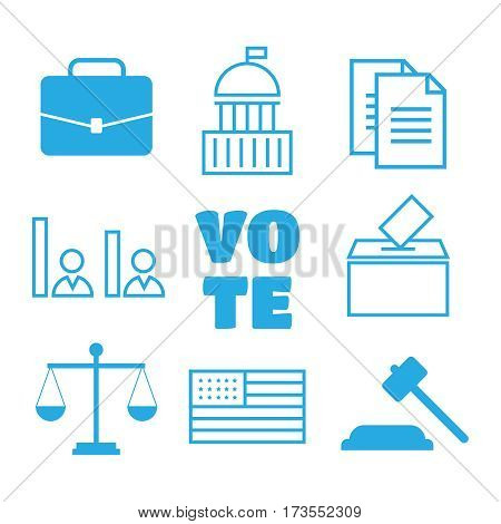 Voting and elections linear icons. Political icons set.Voting and elections