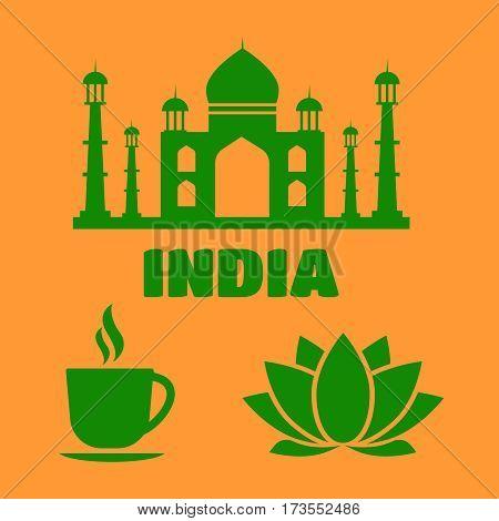 India flat icons with national landmarks. India sign. India flat icons