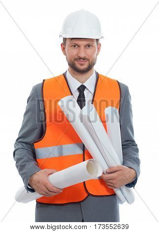 Confident developer. Confident mature businessman contractor wearing protective hardhat and fluorescent safety vest posing confidently with his blueprints copyspace isolated on white
