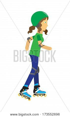 Girl wearing protective gear while rollerblade. Happy cartoon roller. Woman in green helmet elbow pads and knee pads rollerblading. Healthy way of life and sport concept. Vector illustration.