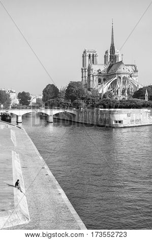 View of Notre Dame de Paris from the Seine river in black and white. Notre Dame cathedral is a medieval catholic cathedral and finest example of french gothic architecture. Paris France.