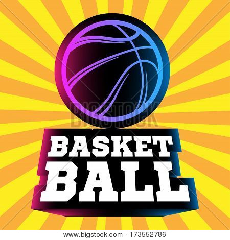 Streetball and basketball icon logo with ball and basket in modern style - stock vector