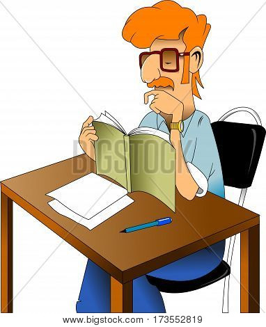 man with a red mustache sitting at a table and reading a book