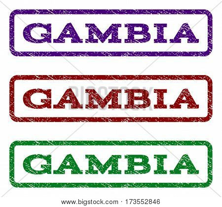 Gambia watermark stamp. Text tag inside rounded rectangle frame with grunge design style. Vector variants are indigo blue red green ink colors. Rubber seal stamp with dirty texture.