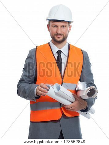 Construction pro. Vertical studio shot of a mature businessman constructionist smiling to the camera isolated on white profession job occupation specialist expert concept