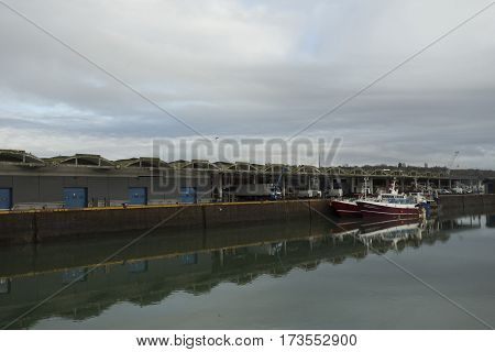 Fishing Boats In A Harbor. Trawler After Fishing. Fishing Industry, Fishery. Commercial Ship For Sea