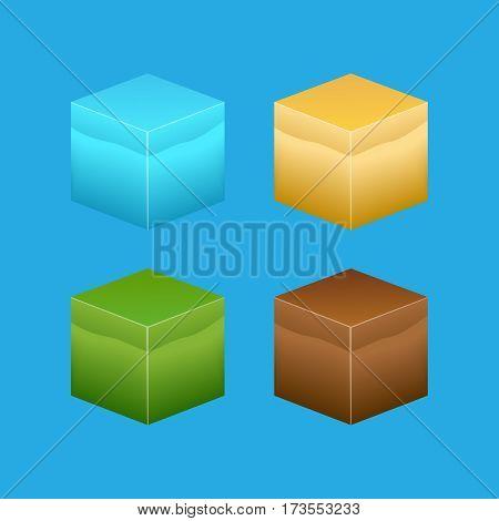 Isometric 3D cube textures set for computer games vector. 3d textures set