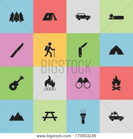 Set Of 16 Editable Trip Icons. Includes Symbols Such As Field Glasses, Bedroll, Pine And More. Can Be Used For Web, Mobile, UI And Infographic Design.