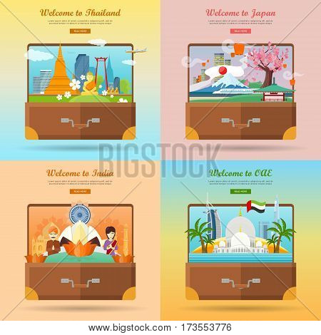 Welcome to Japan, Thailand, India, United Arab Emirates. Set of advertisement banners. Landmarks of asian places of interest on photo in suitcase. Traveling concept. Going to vacation. Vector