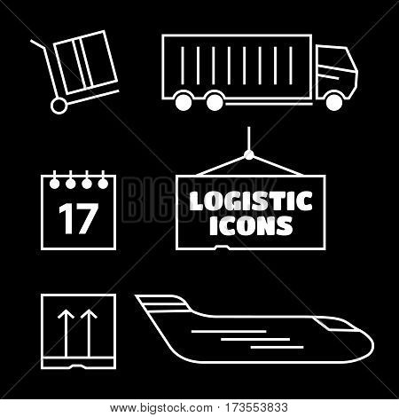 Logistics icons set. Truck and shipping cargo and transport vector. Logistics vector