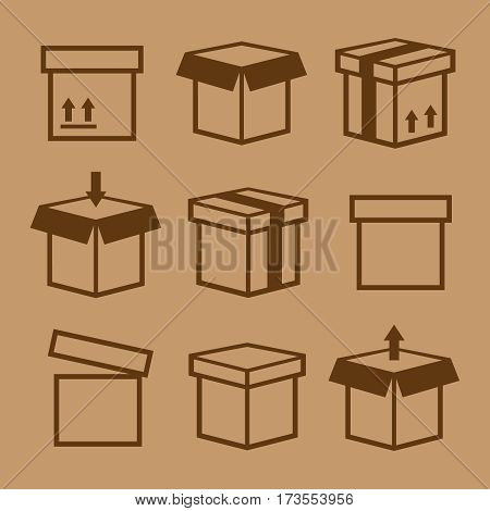 Carton box pack set packing boxes vector. Carton box pack vector