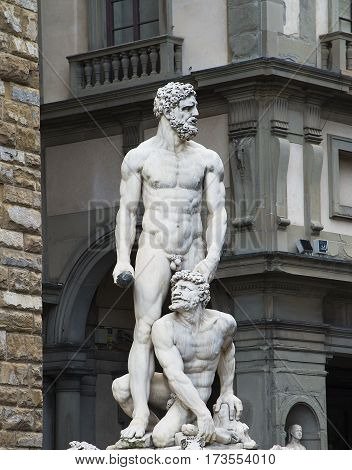travel to Italy - statue Hercules and Cacus on Piazza della Signoria in Florence city. This work by the Florentine artist Baccio Bandinelli (1525-1534)