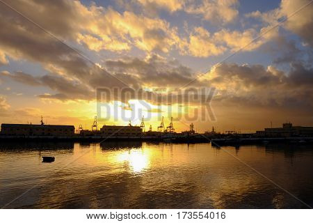 View on Puerto de Las Palmas - the port of Las Palmas on the sunrise - Gran Canaria Spain - 13.02.2017.