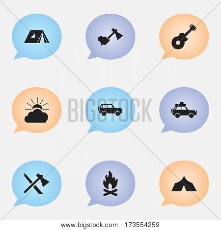 Set Of 9 Editable Camping Icons. Includes Symbols Such As Tomahawk, Shelter, Ax And More. Can Be Used For Web, Mobile, UI And Infographic Design.