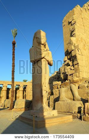 Statue of Ramses II in Karnak temple, Luxor, Egypt.