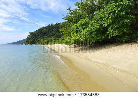 Landscape with deserted sandy beach on the Koh Adang island in Thailand