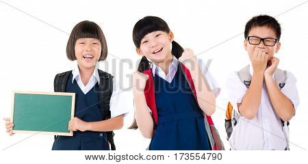 Cheerful asian primary students isolated on white background