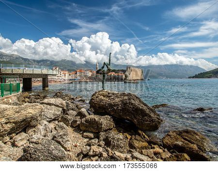 BUDVA, MONTENEGRO - 27.09.2016:View of the old fortress town of Budva.Editorial photo.