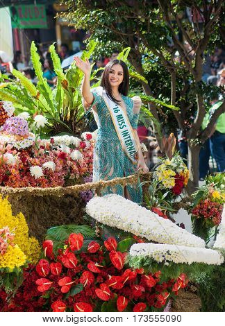 BAGUIO CITYPHILIPPINES - FEBRUARY 26 2017: Miss International 2016 Kylie Versoza waves to the crowd on a float during the annual celebration of Panagbenga Festival.